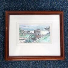 Joel Kirk Original Watercolour - Turret By The Sea - Signed - Framed 43cm x 36cm