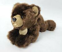 "Yomiko Classics Russ 14"" Laying Down Grizzly Bear Plush Stuffed Realistic"