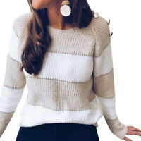 RUUHEE Womens Knit Sweater Color Block Crewneck Pullover Long Sleeve Tops Jumper
