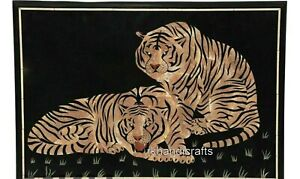 24 x 36 Inches Marble Inlay Table Top Tiger Pattern Patio Coffee Table for Decor