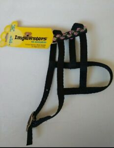 """XS Impawsters Dog Pet Small Animal Black Harness w/ Pink Flowers 10""""-12"""" girth"""