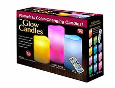 Glow Candles – Flameless Color-Changing Candles, 3 Battery-operated LED Pillar