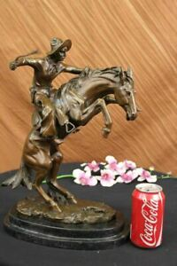 Frederic Remington Solid Bronze Bronco Buster Statue Sculpture - Medium Size Art