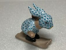 Herend Rabbit Bunny Skiing Turquoise Fishnet Figurine 5638