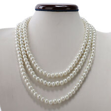 Kalse Multiple 3 Strands Layer Pearl Statement Pendant Bib Choker Necklace White