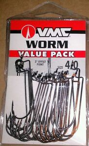 VMC Value Pack Worm Hooks sz 4/0 Qty. 25 Bass Fishing Resin Closed Eye