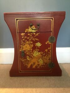 Oriental Inspired Cabinet / Side Table With Drawer