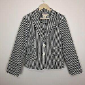 Anthropologie Sandro M blazer seersucker blazer jacket business casual stripe