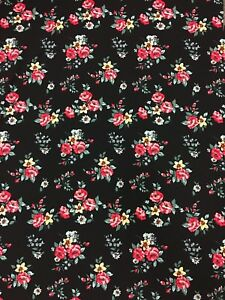 Polyester Spandex Techno Crepe 2 Ways Stretch Floral Design Fabric