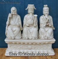 "13"" Chinese Dehua White Porcelain 3 Longevity God Fu Lu Shou Dragon Ruyi Statue"