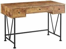 3-Drawer Writing Desk with Antique Nutmeg and Black Metal Frame