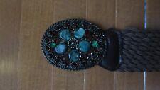 XOXO Women's Brown Braided Jeweled Beaded Metal Buckle Waist Belt