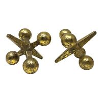 Cast Iron Jacks Jax Gold Bookends Set of 2 Home Decor Bill Curry style