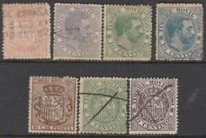 Spain Timbre Movil Revenues 1882-90 7 diff used stamps Edifil cv $21