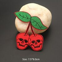 Cherry Skull Fruit Patch Cute Badge Iron On Embroidery Patches Strip On Clothes