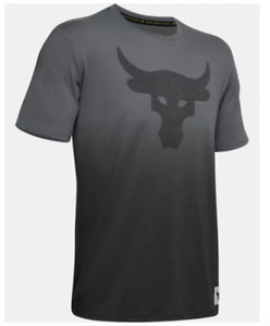 Under Armour Project Rock Tee Mens Authentic New Bull Graphic Short Sleeve Grey