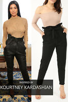 WOMENS LADIES CREPE STRETCH TAPERED PLAIN PAPERBAG PLEATED CIGARETTE TROUSERS