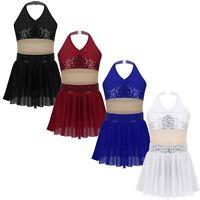 Girls Sequins Mesh Splice Lyrical Dance Leotard Dress Modern Ballroom Costumes