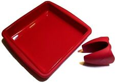 Silicone Square Cake Pan Bread Chocolate Pizza Non-stick Baking Mold + FREE Grip
