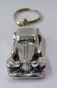 925 Sterling Silver Electroforming HandMade Old Car Key Ring Key Holder Chain