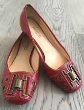 WOMEN'S 6.5 M PREVIEW INTERNATIONAL Red Metal Buckle Leather Ballet Flat #394