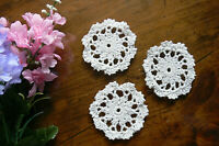 3 Hand CROCHET DOILIES - Cotton WHITE Round Approx 7.5cm across - 3 Pack