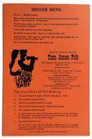 1960's Original Vintage Menu w/ Wine List TOM JONES PUB Restaurant Miami Florida