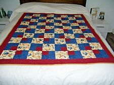 Quilt Lap Bedspread Tablecloth Handmade 44x54 Red & Blue Kitchen Patterns New
