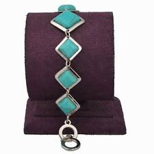 Excellent Friendship Silver Plated Square Rhombus Turquoise Link Bangle Bracelet