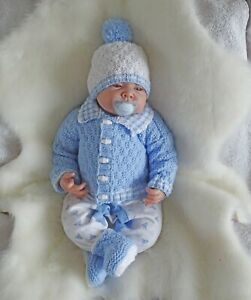 Easy dk knitting pattern instructions to knit baby boys cardigan set george