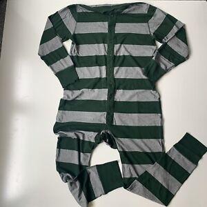J Crew Mens One Piece Pajamas Long Johns Bulldog Button Flap Size M Grey Green