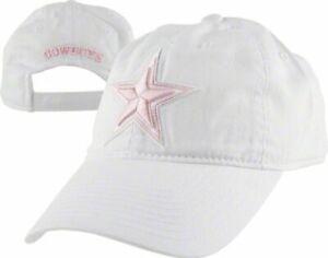 Dallas Cowboys Cap Womens Hat White / Pink Adjustable Strapback Slouch Cotton
