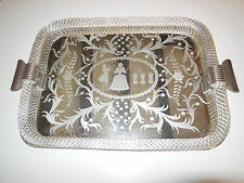 ~c 1950's Italian Murano Venini Twisted Rope Glass Vanity Tray Etched Mirror ~