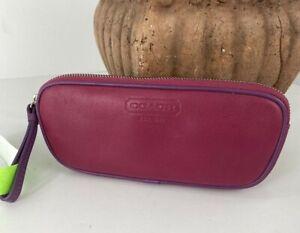 New Coach Eyeglass Case Leatherware 1941 Pink Purple Leather Zip FS8883 B13
