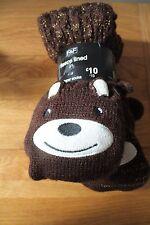 Tesco F&F fleece lined slipper socks brown bear womens