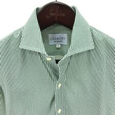 "LEDBURY Men's 15"" 38cm Shirt Dress Spread Collar Green Gingham Check"
