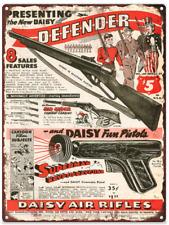 "1942 Daisy Pistol Riffle Superman Kyrpoto Ray Metal Sign Ad Repro 9x12"" 60264"