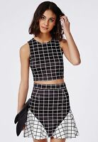 Missguided Co-Ord Black White Contrast Crop Top Skater Skirt Size 4 6 @ Asos
