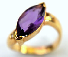 14K Solid White Gold Amethyst and Diamonds Ring Size 7