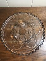 """Vintage CANDLEWICK-Style 10.5"""" CAKE PLATE Beaded Edge"""