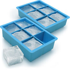 2x Ice Cube Tray 6 Extra Large Square Food Grade Jumbo Ice Cube Moulds Whiskey