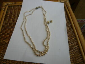 ANTIQUE VINTAGE 1930,S PEARL NECKLACE AND EARRINGS STERLING SILVER & MARCASITE