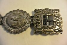 signed ROBERT JOHNSON Navajo 11 pcs. stamped CONCHO BELT buckle Sterling Silver