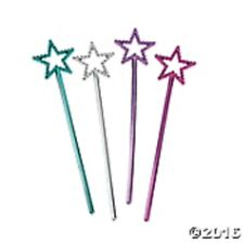 "Princess Party Favors 24 Mini Star Wands  6 3/4"" tall SILVER PINK BLUE LAVENDAR"