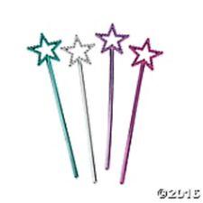 "Princess Party Favors 24 Mini Star Wands  6 3/4"" tall SILVER PINK BLUE LAVENDAR"