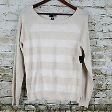 a.n.a  A New Approach Sweater Womens Size L Beige Tan Metallic Stripe New NWT