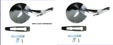 Chevy Chrome Round NO Bowtie Rear View Ribbed  Base Door Side Mirror + Hardware