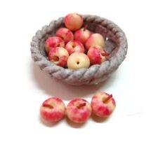 12 Fresh Apple Gara Fill Ceramic Round Basket Dollhouse Miniatures Food Fruit