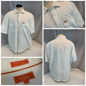 Faconnable Short Sleeve Button Shirt L Men White 100% Cotton LNWOT YGI A1-331