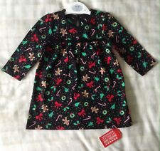 Baby Girls George Black Christmas Print Jersey/flared Swing Party Dress 6-9m